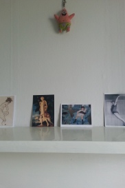 bedroom mantelpiece - guess whose is whose?