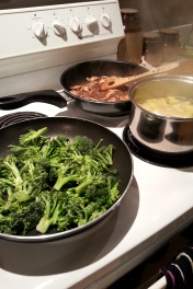 broccoli, onion, mushroom, & red wine gravy, and humongo swede!